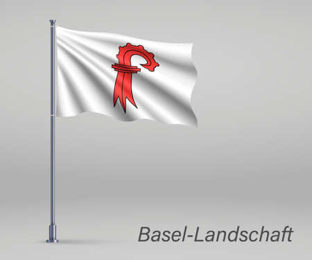 Waving flag of Basel-Landschaft - canton of Switzerland on flagpole. Template for independence day