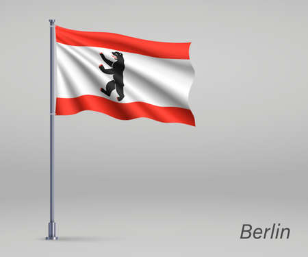 Waving flag of Berlin - state of Germany on flagpole. Template for independence day