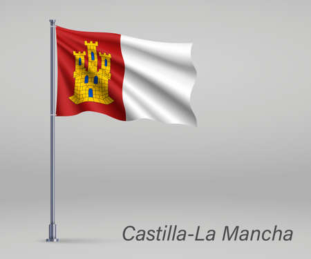 Waving flag of Castilla-La Mancha - region of Spain on flagpole. Template for independence day poster