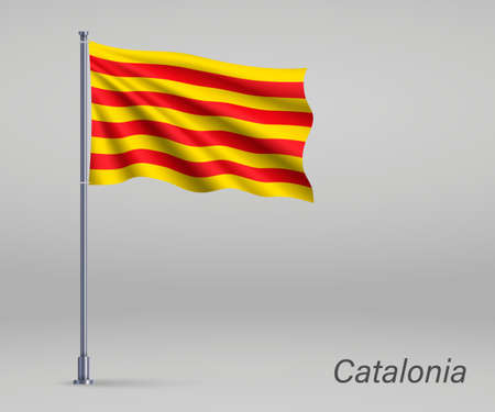 Waving flag of Catalonia - region of Spain on flagpole. Template for independence day poster