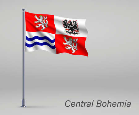 Waving flag of Central Bohemia - region of Czech Republic on flagpole. Template for independence day