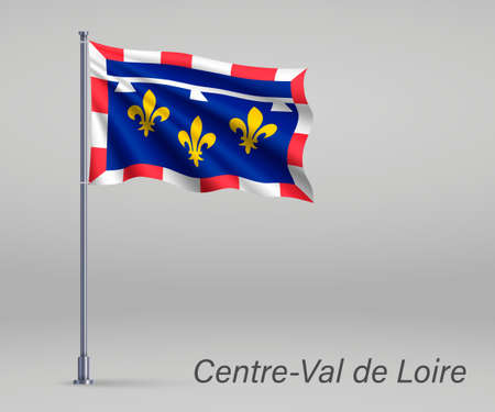 Waving flag of Center-Val de Loire - region of France on flagpole. Template for independence day