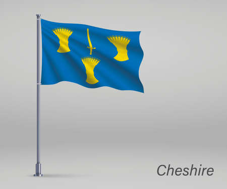 Waving flag of Cheshire - county of England on flagpole. Template for independence day