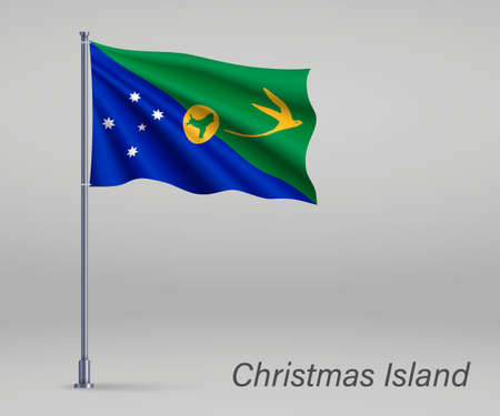 Waving flag of Christmas Island - state of Australia on flagpole. Template for independence day