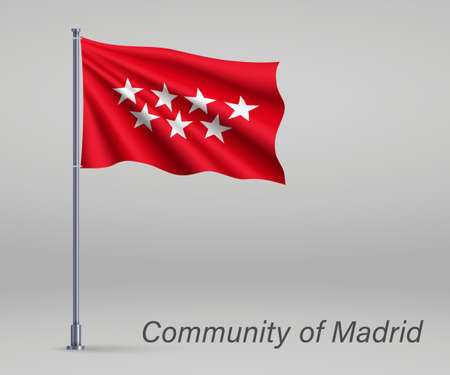 Waving flag of Community of Madrid - region of Spain on flagpole. Template for independence day poster