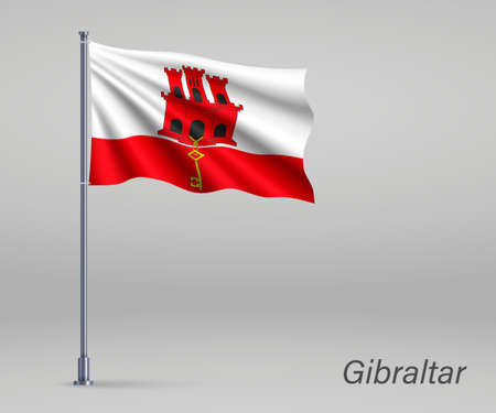Waving flag of Gibraltar - territory of United Kingdom on flagpole. Template for independence day