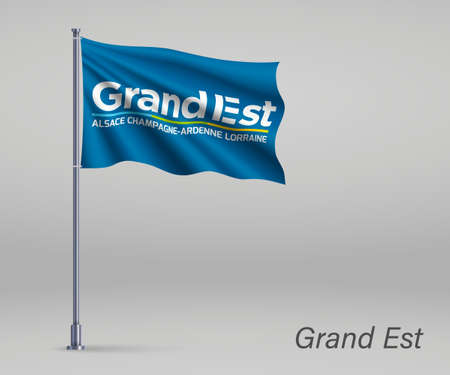 Waving flag of Grand Est - region of France on flagpole. Template for independence day