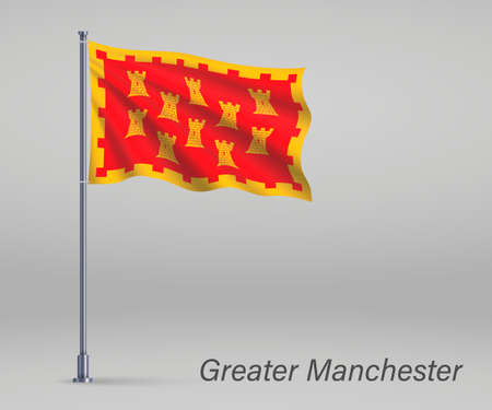 Waving flag of Greater Manchester - county of England on flagpole. Template for independence day