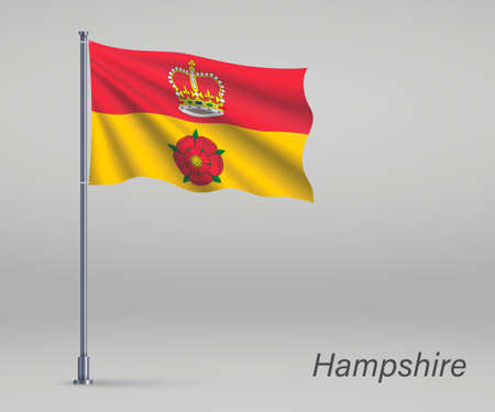 Waving flag of Hampshire - county of England on flagpole. Template for independence day