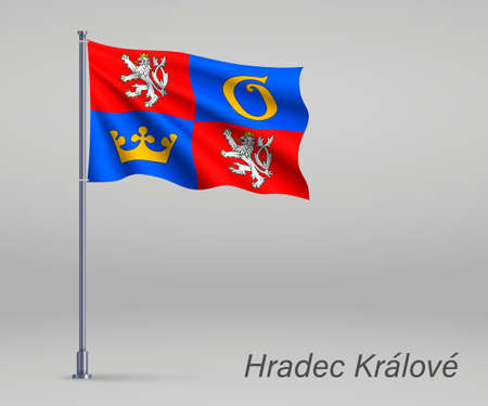 Waving flag of Hradec Kralove - region of Czech Republic on flagpole. Template for independence day 向量圖像