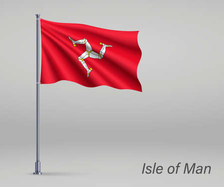 Waving flag of Isle of Man - territory of United Kingdom on flagpole. Template for independence day