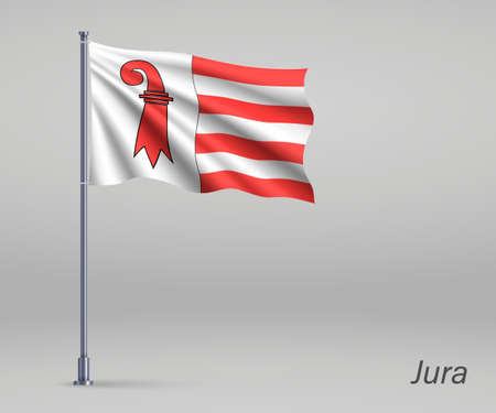 Waving flag of Jura - canton of Switzerland on flagpole. Template for independence day