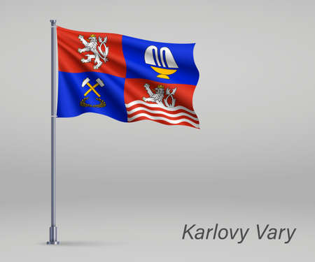 Waving flag of Karlovy Vary - region of Czech Republic on flagpole. Template for independence day 向量圖像