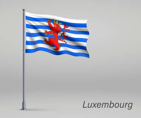 Waving flag of Luxembourg - province of Belgium on flagpole. Template for independence day