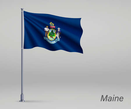 Waving flag of Maine - state of United States on flagpole. Template for independence day poster  イラスト・ベクター素材
