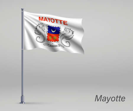 Waving flag of Mayotte - region of France on flagpole. Template for independence day