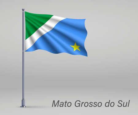 Waving flag of Mato Grosso do Sul - state of Brazil on flagpole. Template for independence day poster