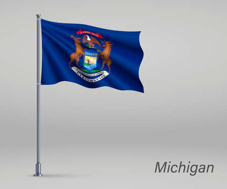 Waving flag of Michigan - state of United States on flagpole. Template for independence day poster