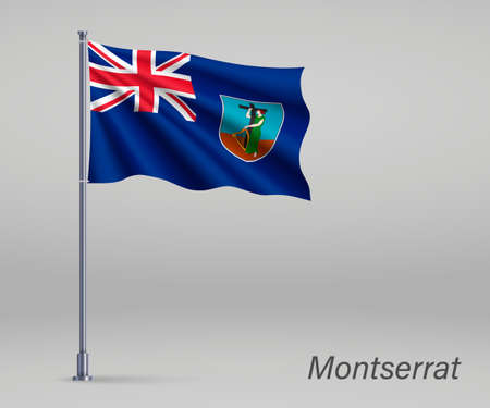 Waving flag of Montserrat - territory of United Kingdom on flagpole. Template for independence day