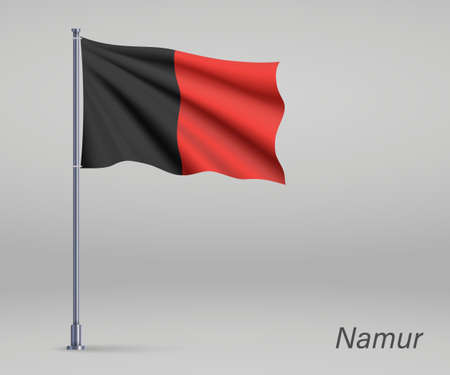 Waving flag of Namur - province of Belgium on flagpole. Template for independence day
