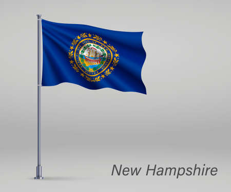 Waving flag of New Hampshire - state of United States on flagpole. Template for independence day poster