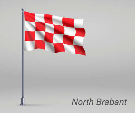 Waving flag of North Brabant - province of Netherlands on flagpole. Template for independence
