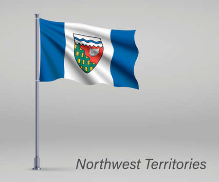 Waving flag of Northwest Territories - province of Canada on flagpole. Template for independence day poster