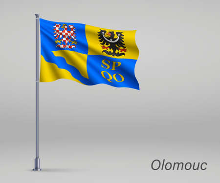 Waving flag of Olomouc - region of Czech Republic on flagpole. Template for independence day 向量圖像