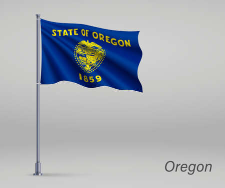 Waving flag of Oregon - state of United States on flagpole. Template for independence day poster 向量圖像