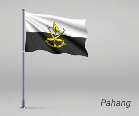Waving flag of Pahang - state of Malaysia on flagpole. Template for independence day poster