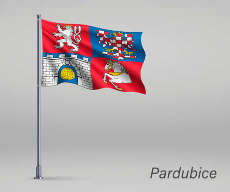 Waving flag of Pardubice - region of Czech Republic on flagpole. Template for independence day