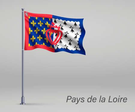 Waving flag of Pays de la Loire - region of France on flagpole. Template for independence day Illustration
