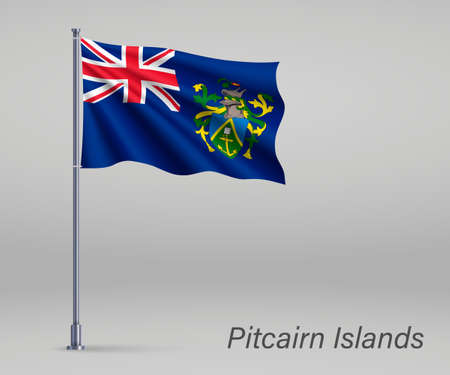 Waving flag of Pitcairn Islands - territory of United Kingdom on flagpole. Template for independence day