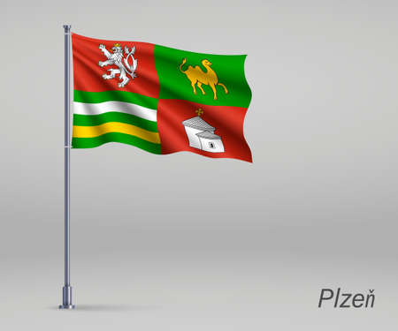 Waving flag of Plzen - region of Czech Republic on flagpole. Template for independence day