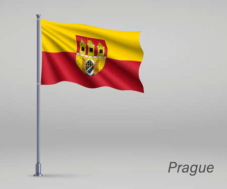 Waving flag of Prague - region of Czech Republic on flagpole. Template for independence day 向量圖像