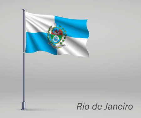 Waving flag of Rio de Janeiro - state of Brazil on flagpole. Template for independence day poster