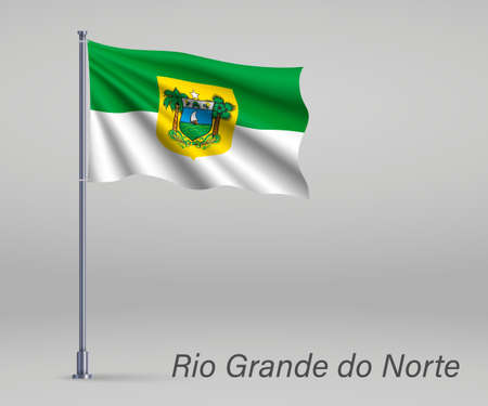 Waving flag of Rio Grande do Norte - state of Brazil on flagpole. Template for independence day poster