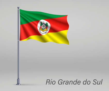 Waving flag of Rio Grande do Sul - state of Brazil on flagpole. Template for independence day poster Illusztráció