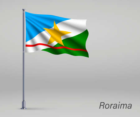 Waving flag of Roraima - state of Brazil on flagpole. Template for independence day poster