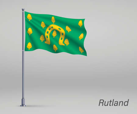 Waving flag of Rutland - county of England on flagpole. Template for independence day Illusztráció