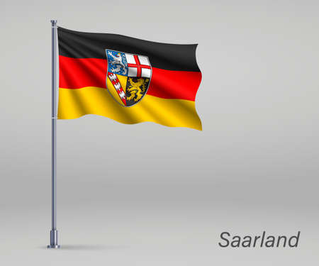 Waving flag of Saarland - state of Germany on flagpole. Template for independence day Illusztráció