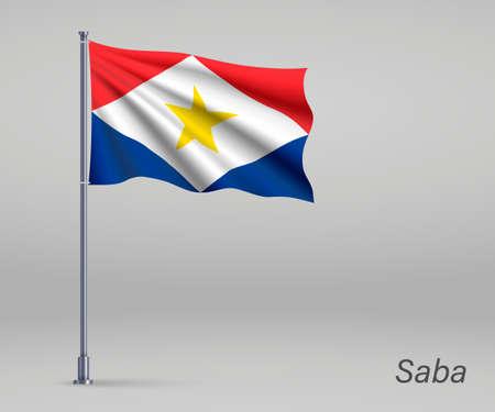 Waving flag of Saba - province of Netherlands on flagpole. Template for independence Illusztráció