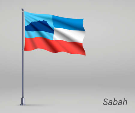 Waving flag of Sabah - state of Malaysia on flagpole. Template for independence day poster