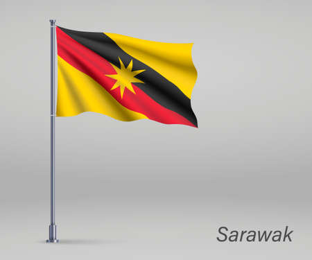 Waving flag of Sarawak - state of Malaysia on flagpole. Template for independence day poster