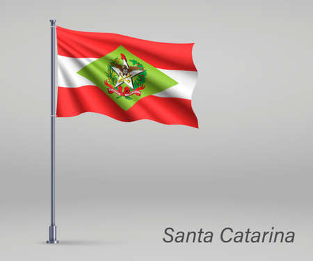 Waving flag of Santa Catarina - state of Brazil on flagpole. Template for independence day poster