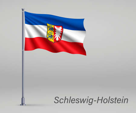 Waving flag of Schleswig-Holstein - state of Germany on flagpole. Template for independence day