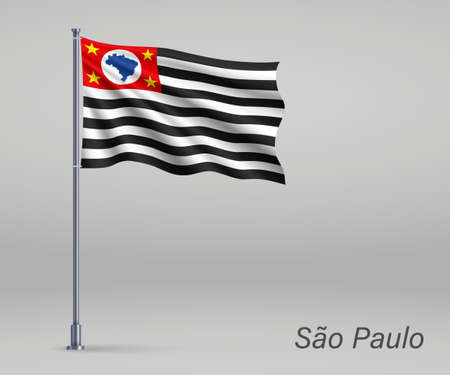 Waving flag of Sao Paulo - state of Brazil on flagpole. Template for independence day poster