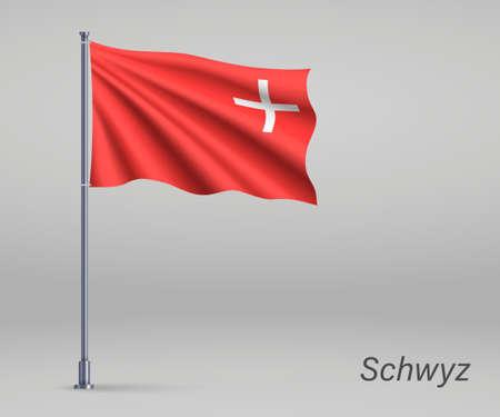 Waving flag of Schwyz - canton of Switzerland on flagpole. Template for independence day Illusztráció