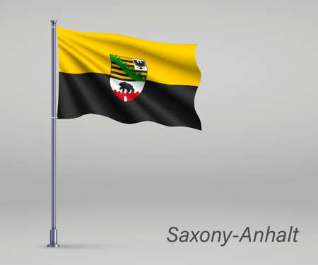 Waving flag of Saxony-Anhalt - state of Germany on flagpole. Template for independence day Illusztráció