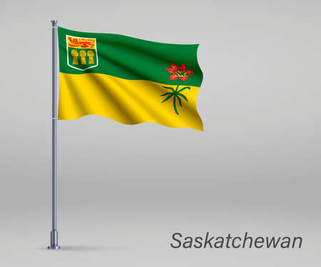 Waving flag of Saskatchewan - province of Canada on flagpole. Template for independence day poster